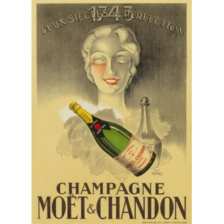 Champagne Moët & Chanon vintage alcohol metal tin sign poster