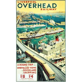 Vintage Liverpool Overhead Railway metal tin sign poster plaque
