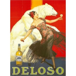 Deloso vintage alcohol metal tin sign poster wall plaque