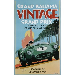 Grand Bahama vintage grand prix metal tin sign poster plaque