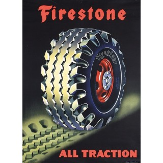 Firestone all traction vintage garage  metal tin sign poster wall plaque