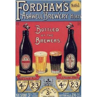 Fordhams Ashwell Brewery vintage alcohol metal tin sign poster