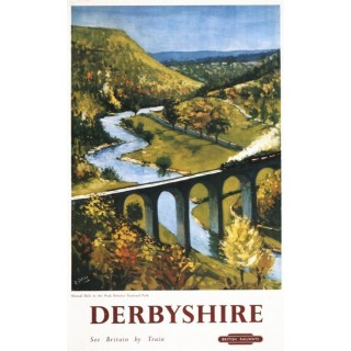 Derbyshire by Train British Railways vintage travel metal tin sign poster plaque