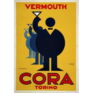 Vermouth Cora Torino vintage alcohol metal tin sign poster plaque