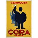 Vermouth Cora Torino vintage alcohol metal tin sign poster plaque