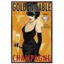 Golden Sable Champagne vintage alcohol metal tin sign poster