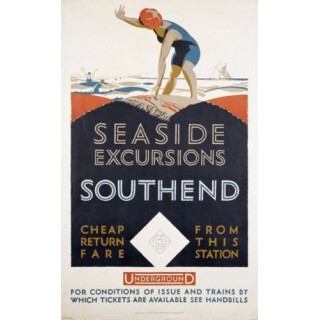 Seaside Excursions London Underground vintage travel  metal tin sign poster