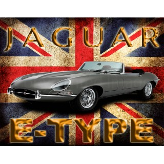 Jaguar E-Type  vintage metal tin sign wall plaque