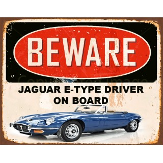 Jaguar E-Type driver on board  vintage metal tin sign wall plaque