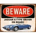 Jaguar E-Type driver on board  vintage metal tin sign wall plaque