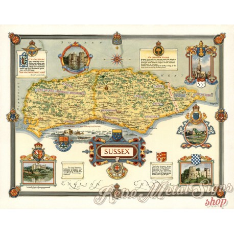 sussex-1945-pictorial-map-metal-sign