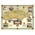 Sussex 1945 pictorial map metal tin sign