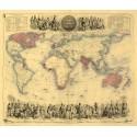 British Empire in 1855 vintage map metal tin sign