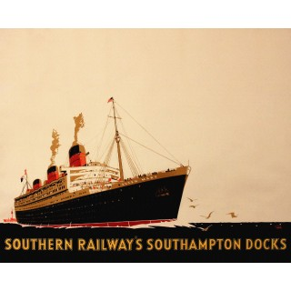 Southampton Docks-Southern Railway vintage travel metal tin sign poster plaque