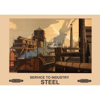 Service to industry-Steel Railway vintage travel metal tin sign poster plaque