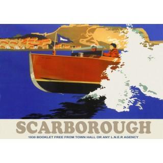 Scarborough LNER Railway vintage travel metal tin sign poster plaque