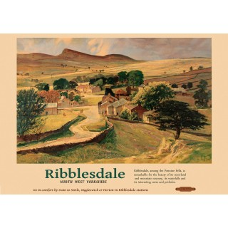Ribblesdale NW Yorkshire Railway vintage travel metal tin sign poster