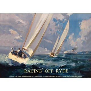 Racing off Ryde Isle of Wight  vintage travel metal tin sign poster