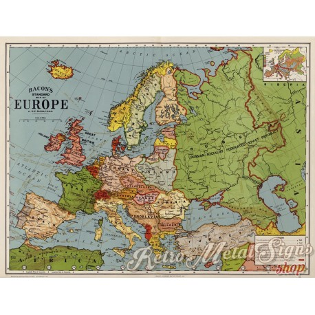 map-of-europe-in-1920-metal-sign