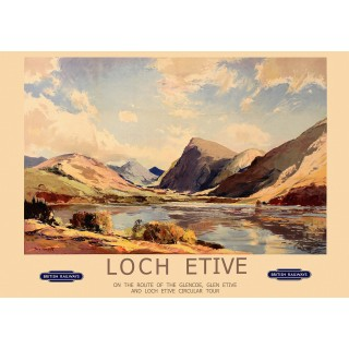 Loch Etive, Scotland British Railways vintage travel metal tin sign poster