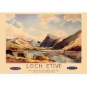 Loch Etive, Scotland British Railways vintage travel metal tin sign poster