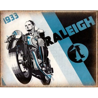 1933 Raleigh motorcycle  vintage garage advertising plaque metal tin sign poster