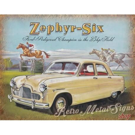 Zephyr Six Vintage Car Metal Tin Sign Wall Plaque