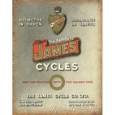 40937753de9 ... vintage metal tin sign wall plaque. the-famous-james-cycles-metal-sign