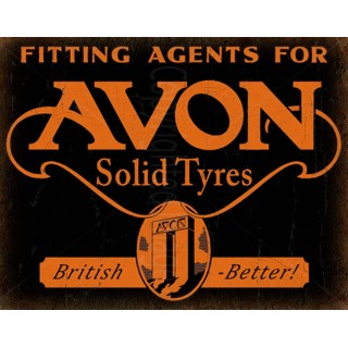 Avon Solid Tyres vintage garage metal tin sign wall plaque