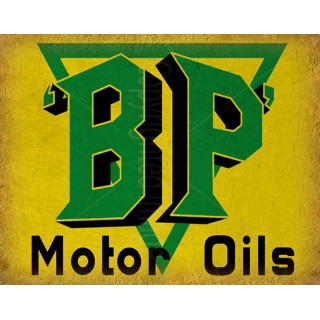 BP Motor Oils vintage metal tin sign wall plaque