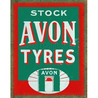 Avon Tyres vintage garage metal tin sign wall plaque