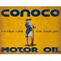 Conoco Motor Oil vintage metal tin sign wall plaque