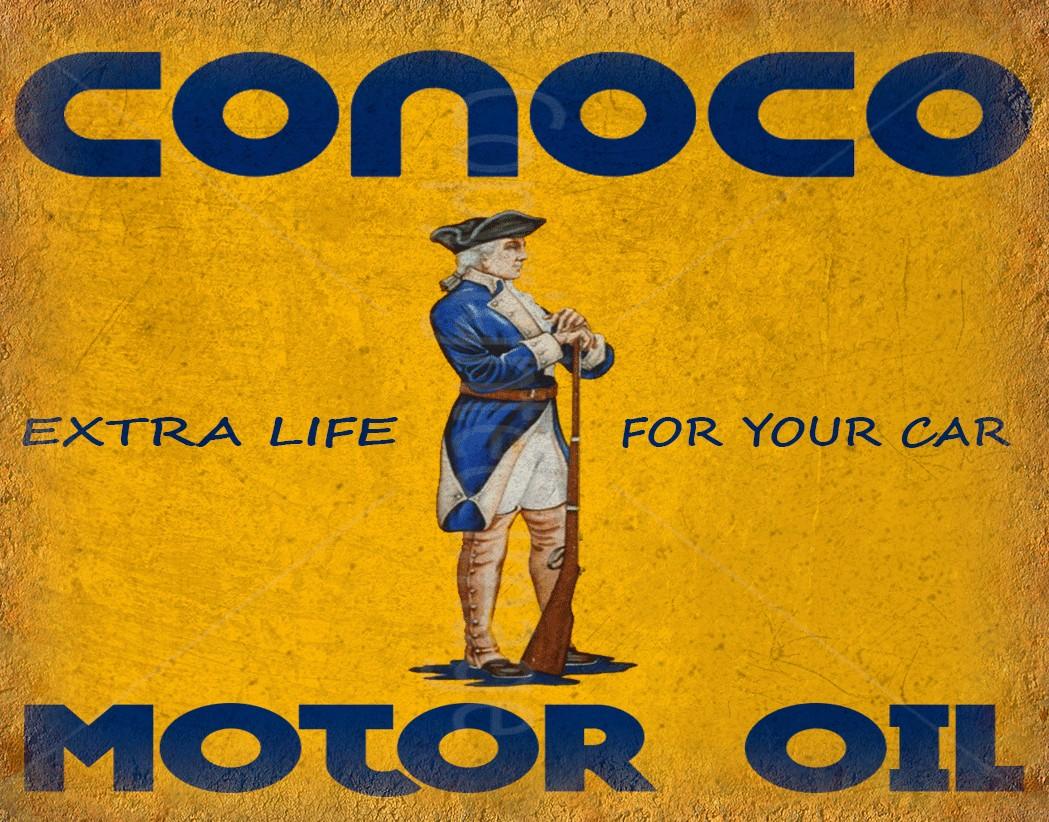 Conoco Motor Oil vintage metal tin sign wall plaque