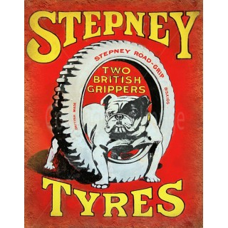 Stepney Tyres vintage garage metal tin sign wall plaque