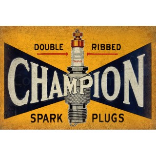 Champion Spark Plugs vintage garage metal tin sign wall plaque