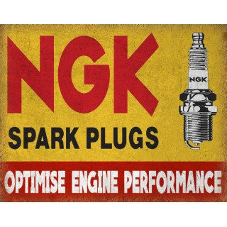 NGK Spark Plugs vintage garage metal tin sign wall plaque