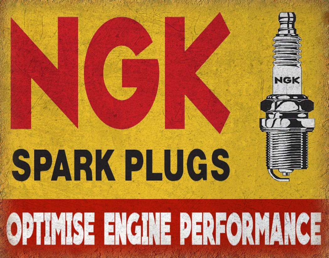 NGK Spark Plugs garage vintage metal tin sign wall plaque