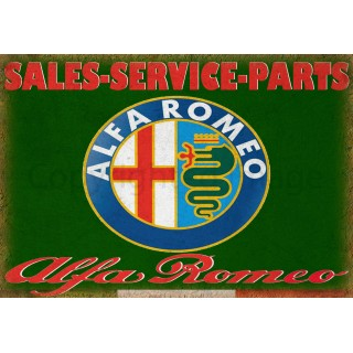 Alfa Romeo Sales Service vintage metal tin sign wall plaque