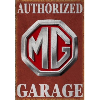 MG Authorized garage metal tin sign wall plaque