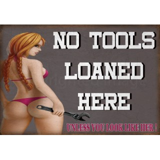 no-tools-loaned-sexy-pin-up-garage-metal-sign