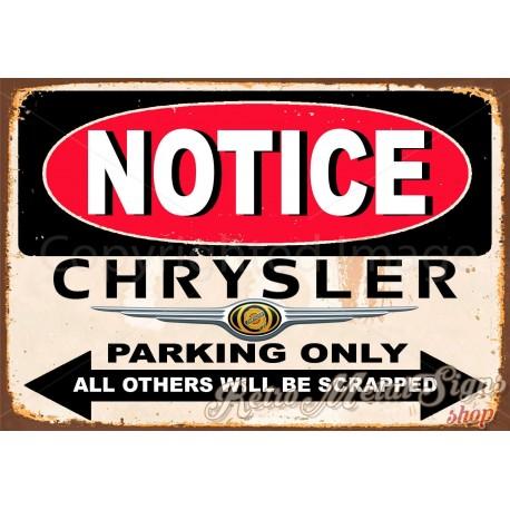 notice-chrysler-parking-only-metal-sign