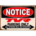 Notice TVR Cars Parking Only metal tin sign wall plaque