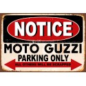 Notice Moto Guzzi  Motorcycle Parking Only metal tin sign wall plaque