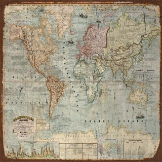 Vintage World maps metal tin signs