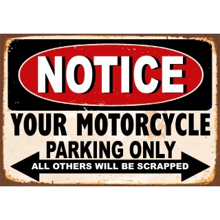 Motorcycle  Parking funny metal tin signs