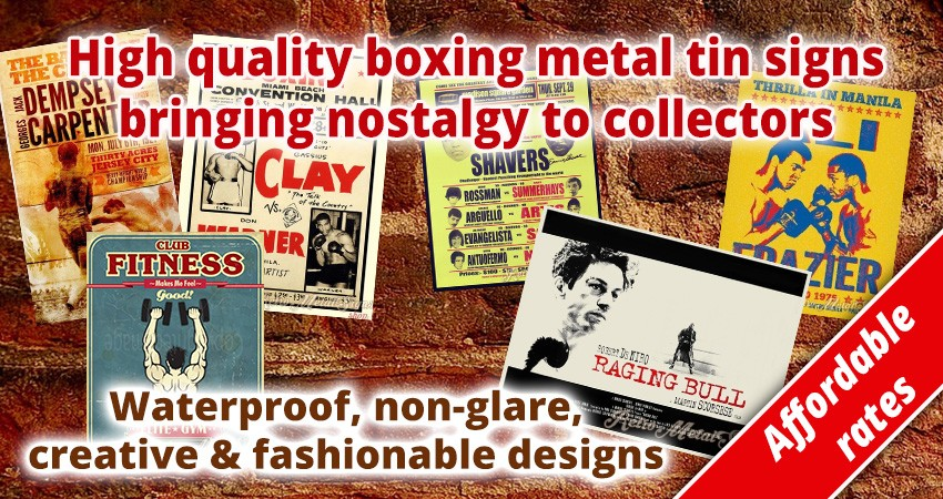 Retro boxing metal tin signs shop UK metal tin posters delivery