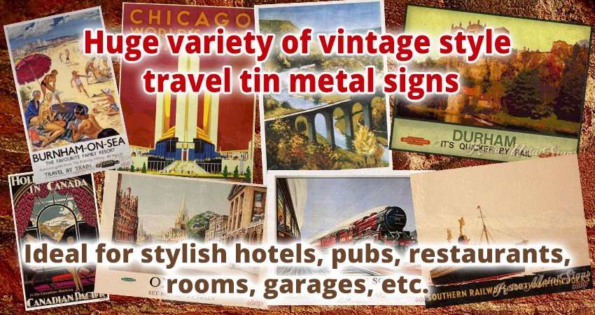 Vintage travel metal tin signs UK shop metal tin sign store quick delivery