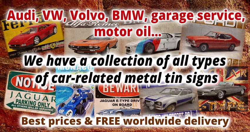 Retro metal tin car signs on-line shop UK buy metal car posters