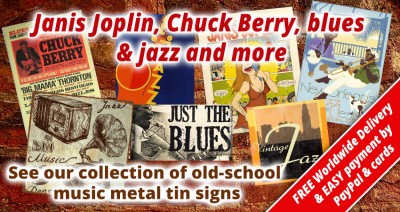 Music metal tin signs for sale UK