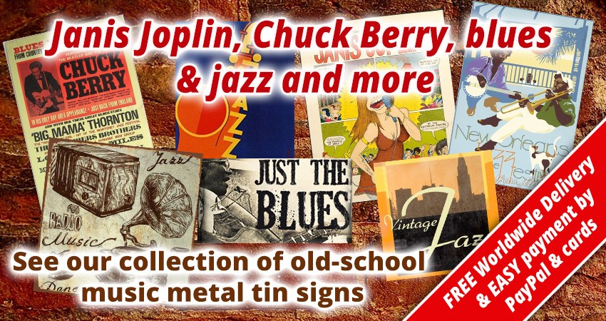 Music metal tin signs shop UK music tin posters delivery